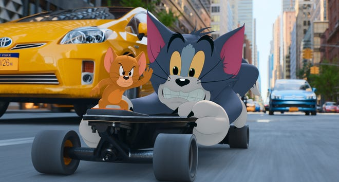 """The feud between cartoon mouse Jerry (left) and his frenemy Tom carries over into live-action New York City in the new film """"Tom & Jerry."""""""