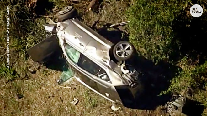 Tiger Woods' car after he crashed it last month near Los Angeles.