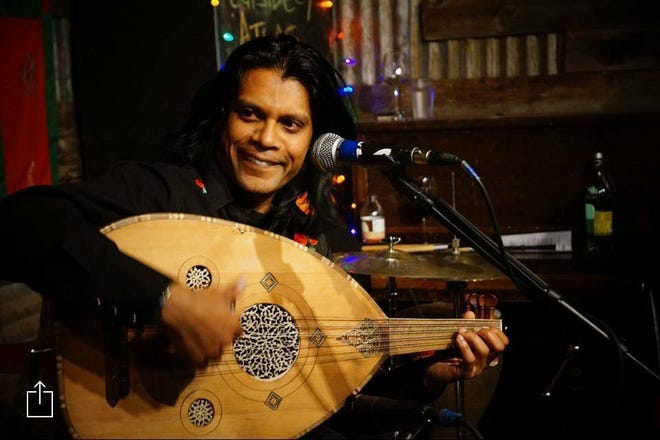 Oliver Rajamani played a winter storm benefit at KMFA's Draylen Mason Studio on Friday, Feb. 26.
