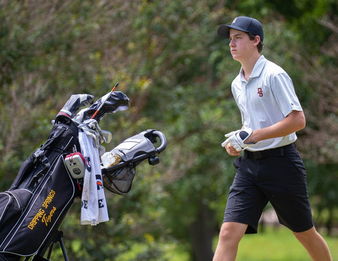 """Dripping Springs junior Luke Ezell, competing in the UIL state golf tournament as a freshman in 2019, said he got serious about the sport in the seventh grade. His older brother Jake taught him a """"grind mentality"""" that he uses today."""