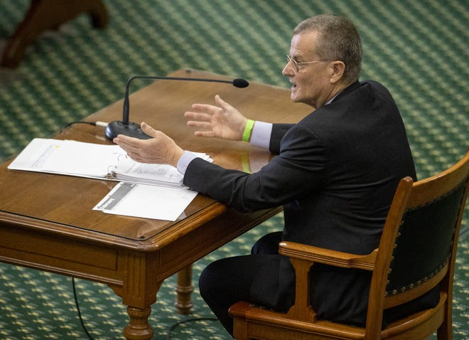 Bill Magness, President and CEO of the Electric Reliability Council of Texas (ERCOT) testifies about the power outage during the winter storm at the Senate Committee on Business and Commerce in the Senate Gallery at the Capitol on Thursday February 25, 2021.