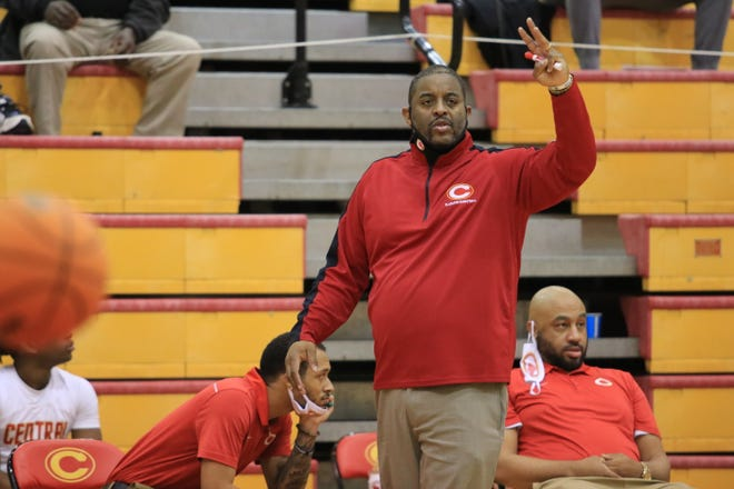 Clarke Central head coach Stefan Smith calls out an assignment