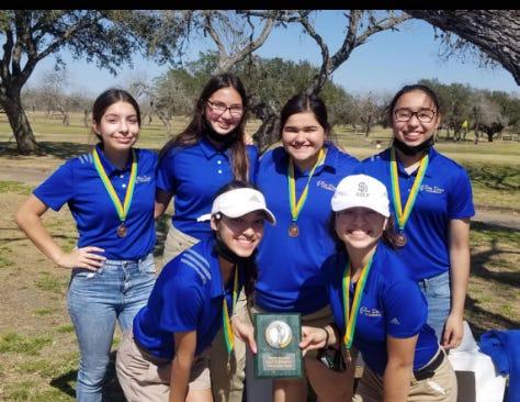 SD Girls Golf team places third as a team. Team consists of (Top LtoR) Taylor Garcia, Mariah Cruz, Claudia Alaniz and Hannah Longoria. Bottom (LtoR) are Eliana Vidal and Alejandra Trevino.