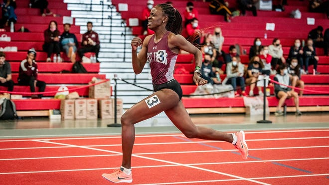 WT's Florance Uwajenezawas named the Lone Star Conference Outstanding Track Athlete after winning four events at last week's conference indoor track & field championships.