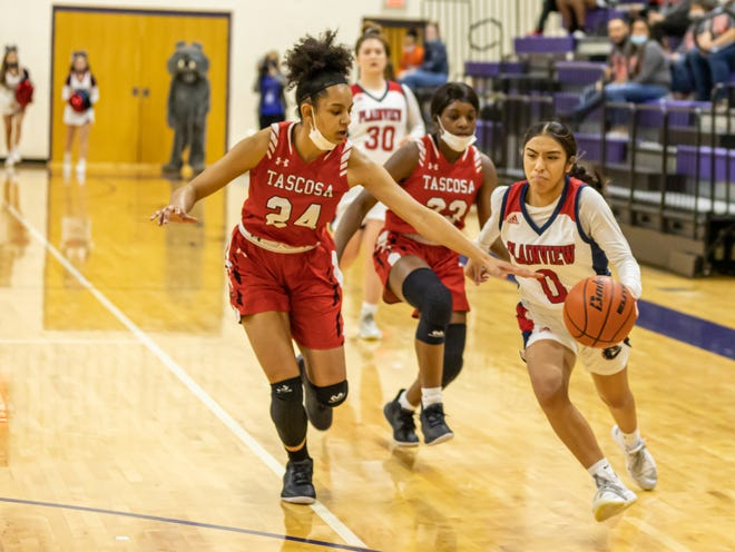Tascosa freshman Avery Carter goes for the steal during Wednesday's game against Plainview in Canyon