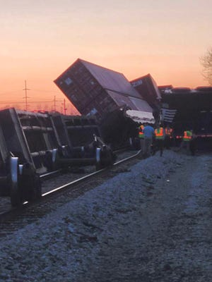 Train derails in Augusta on February 24, 2021.