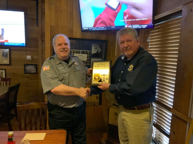 Sheriff Mark Herford (right) recognized Deputy Brad Blakely for his 24 years of dedicated service to the BPSO.