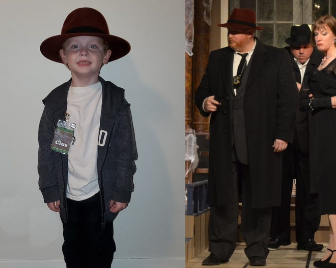 """Aaron Turner, left, dressed as the FBI Agent from """"Clue,"""" which his father Doug Turner played on the Lyric stage."""