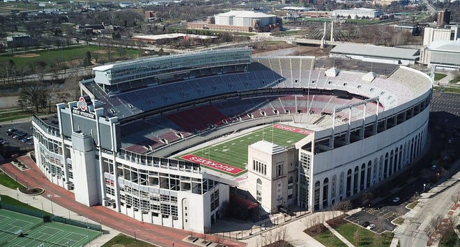 Drone view of Ohio Stadium on the Ohio State University campus photographed March 25, 2020.    (Doral Chenoweth/Columbus Dispatch)