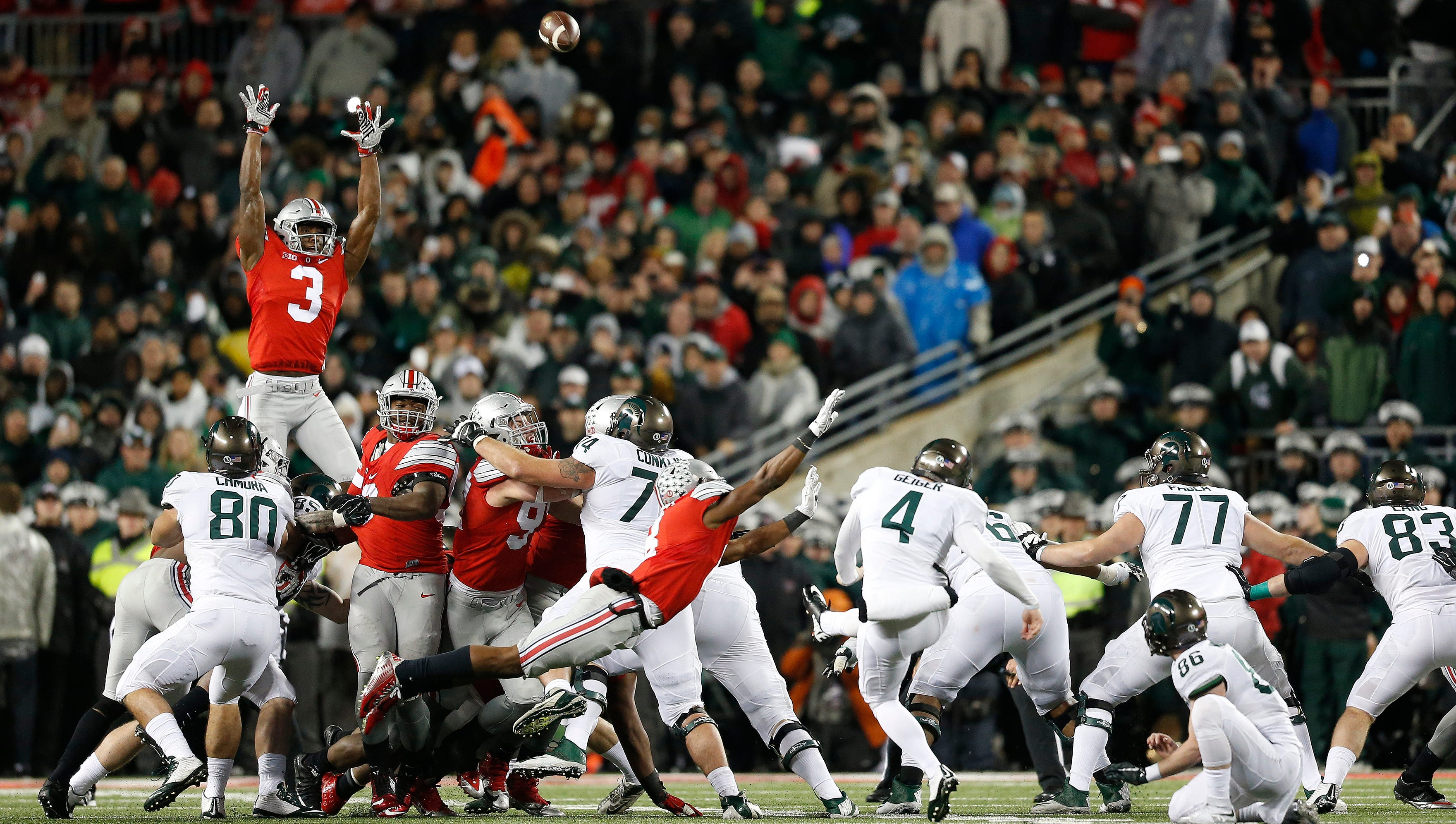 Michigan State's Michael Geiger (4) kicks a 41-yard field goal as time expires during the fourth quarter at Ohio Stadium in Columbus on Nov. 21, 2015.