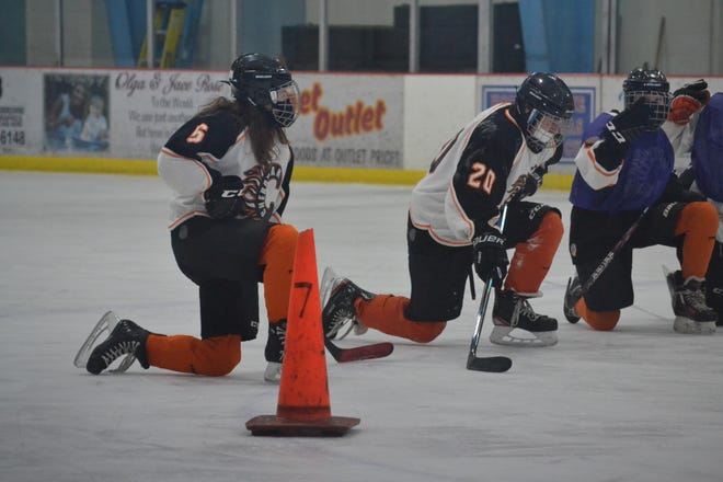 Cheboygan B.C. Pizza bantam players finish up a practice in early February.