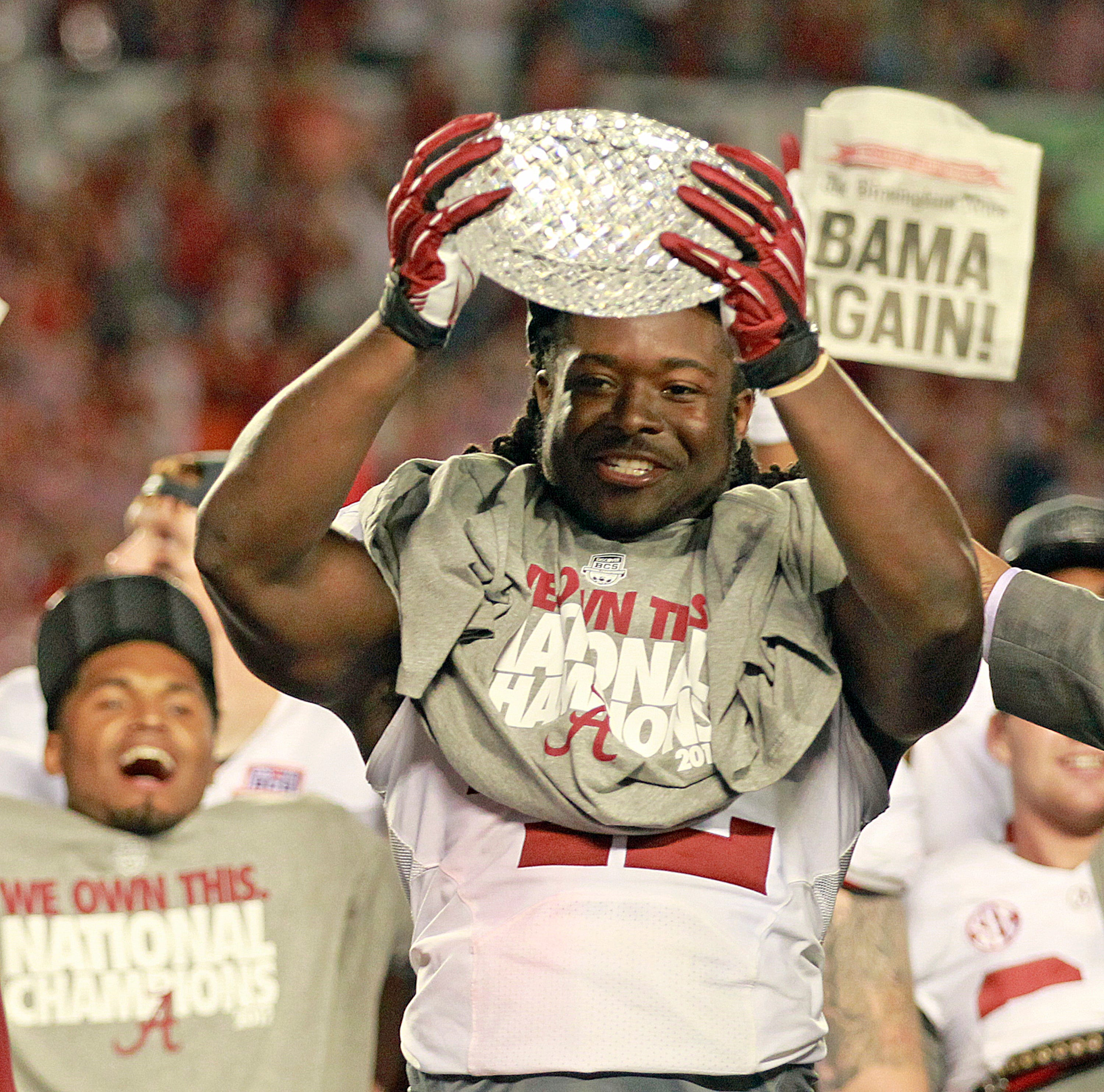 Alabama running back Eddie Lacy celebrates  following a 42-14 win against Notre Dame in the BCS National Championship game on Jan. 7, 2013, in Miami Gardens, Florida.