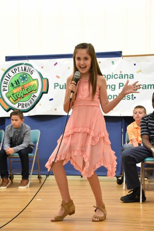A youth contestant competes during the Lake County 4-H Public Speaking Contest.
