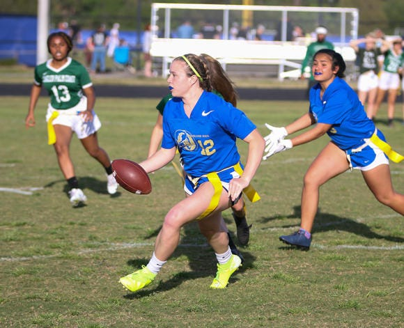Mainland quarterback Alexa Wilson (12) threw 16 touchdowns in four games last spring. The Bucs went 4-0 and should be among the top teams in the Volusia-Flagler area in 2021.
