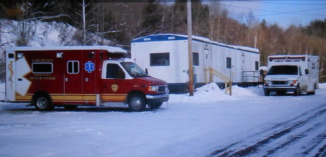 Hawley Ambulance & Rescue Company is now known as Lake Region EMS. The newly acquired ambulance is at left, next to the temporary trailer office on Gravity Road.