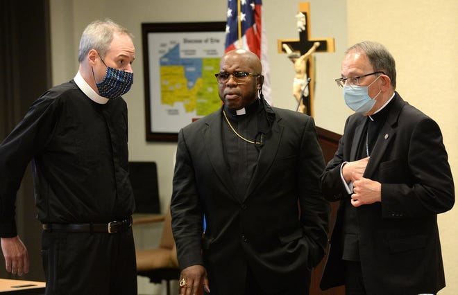 From left, the Right Rev. Sean Rowe, bishop of the Episcopal Diocese of Northwestern Pennsylvania and the Episcopal Diocese of Western New York; Bishop Dwane Brock, of the Victory Christian Center' and Erie Catholic Bishop Lawrence Persico meet Aug. 18 at the St. Mark Catholic Center in Erie. Erie pastors gathered with local leaders and law enforcement to discus issues concerning race.