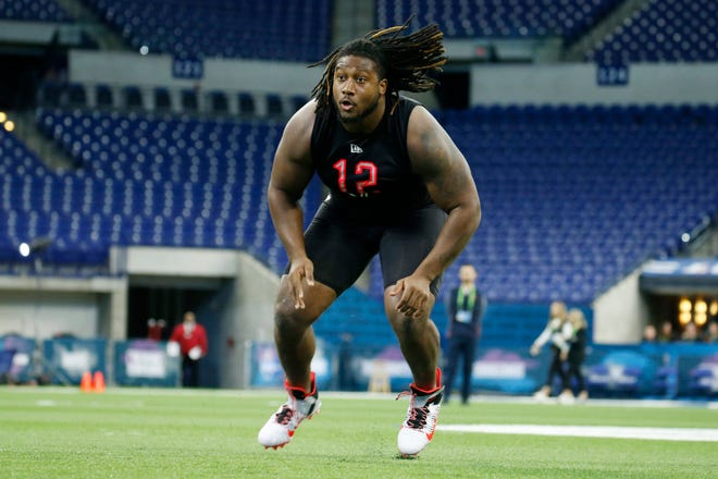 Ohio State defensive lineman Davon Hamilton goes through a workout drill during the 2020 NFL Combine at Lucas Oil Stadium. The Jaguars drafted Hamilton in the third round.