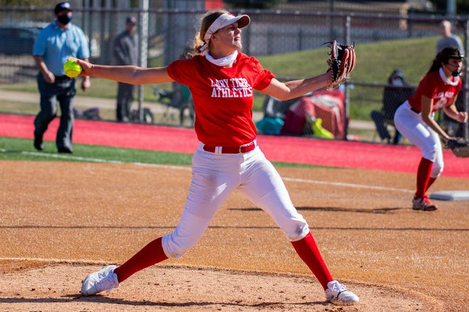 Glen Rose's Addison Nance, seen here in a scrimmage earlier in the year, fnnaed 15 in a complete-game win over Mineral Wells on Tuesday night.
