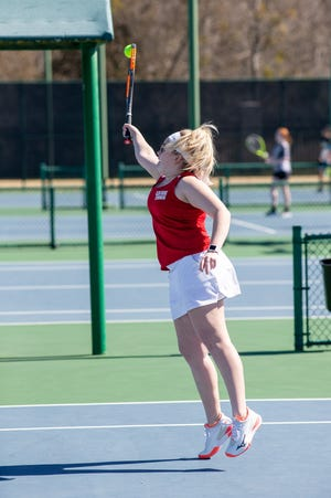 The mixed doubles team of Laney Whitefield, pictured, and Mason Daniels went 2-1 on the day and placed third.