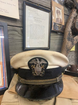 The military hat of J.C. West is on display at the Somervell County Museum.