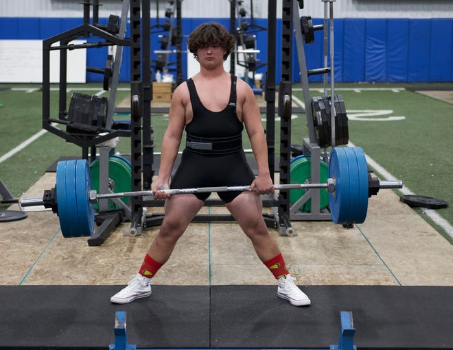 Freshman Hunter Douglas dead-lifted 380 at the powerlifting meet Tuesday night at Brewer High School.
