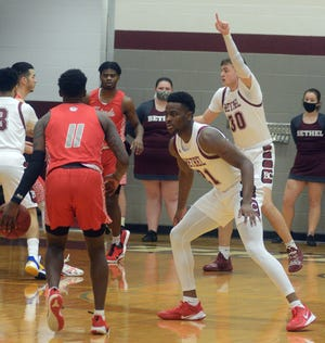 Bethel junior Jaylon Scott, right, scored 10 points with 20 rebounds and 10 assists Wednesday in an 83-64 win over Friends. It was just the second triple-double in school history. Scott had the other triple-double Friday at William Penn.