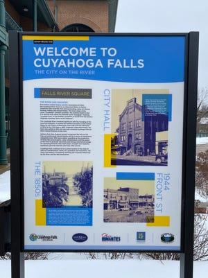 Welcoming visitors, this is one of the seven signs telling the history of Cuyahoga Falls as part of the History Trail along the downtown and Cuyahoga River.