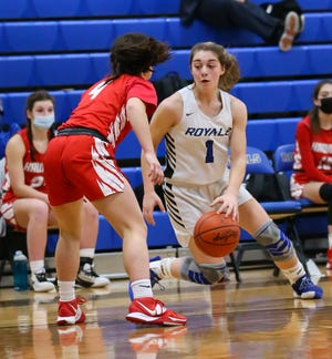 CVCA guard Gia Casalinova looks to cut to the basket during the Royals' 59-47 home win over Hawken Wednesday in a Division II district semifinal game.