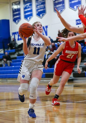 CVCA guard Nina Shaffer puts up a shot during the Royals' 59-47 home win over Hawken Wednesday in a Division II district semifinal game.