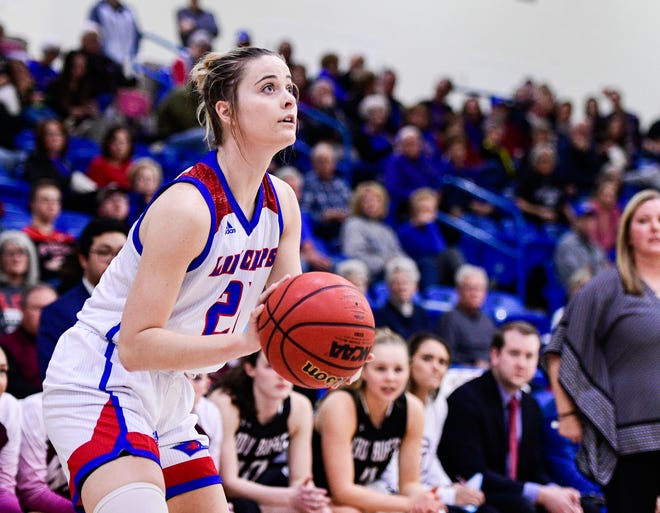 LCU guard Allie Schulte (21) sets up for a 3-point shot last year against West Texas A&M. LCU hosts WT again on Thursday with the Lady Chaps looking for their 88th consecutive home win, which would break the NCAA Division II record. [Justin Rex/A-J Media]