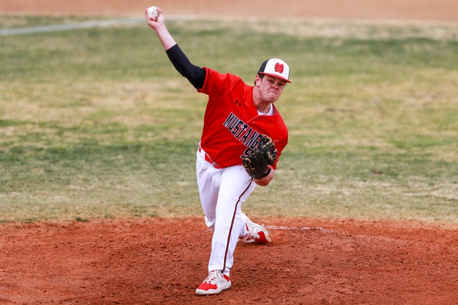 Shallowater's Brooks Carter pitches against Lamesa during the Shallowater Railyard Classic on Feb. 25 at Garland Field in Shallowater.