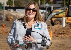 Lakeland Regional Health AVP, Behavioral Health Services Alice Nuttall speaks during a Foundation Laying ceremony for their new Center for Behavioral Health & Wellness in Lakeland, Florida, Thursday, Feb. 25, 2021. Lakeland Regional Health held the ceremony to mark the beginning of construction on its new $46 million Center for Behavioral Health & Wellness.