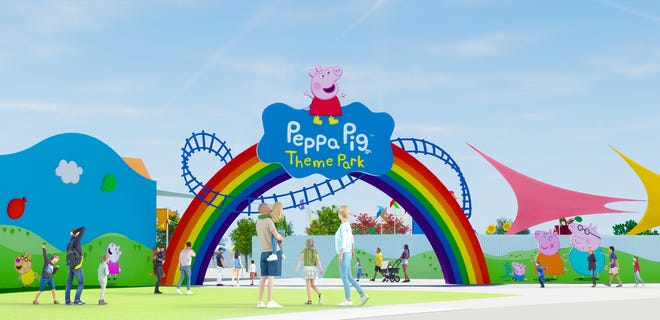 This artist's rendering shows the planned design for the entrance to Peppa Pig Theme Park at Legoland Florida Resort. It is scheduled to open next year.