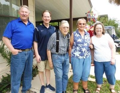 Elgin and Joanne Darling of Willis (center) were the second couple from Monroe County to be inducted into the Michigan Farmers' Hall of Fame in 2019. Shown in the family photo with them are (from left) their sons, Doug and Dale, and their daughter, Pam. Elgin passed away Sunday.