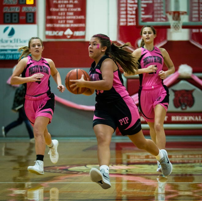 High Point's Kierra Wingle looks to pass the ball during the Play for Pink Classic girls varsity game against Newton on Jan. 19, 2020, at High Point Regional High School in Wantage.