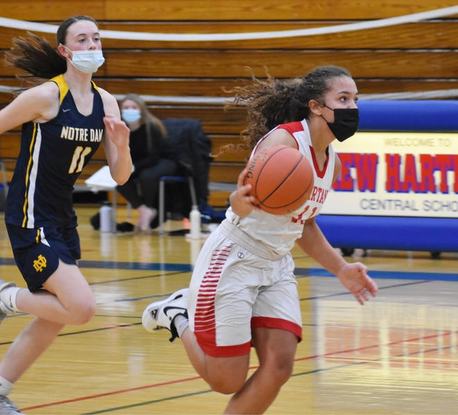 New Hartford's Kaia Henderson, shown during a game this season, became the latest Section III girls player to reach 2,000 career points Friday.