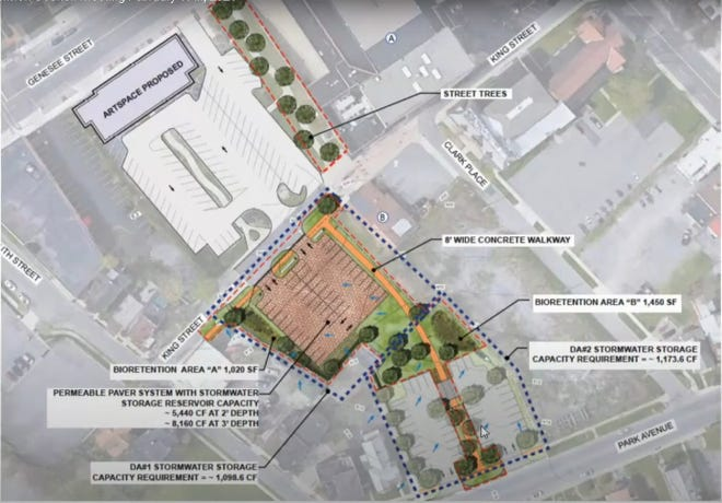 The city's plans for the One World Garden site now include an asphalt parking lot along Park Avenue.