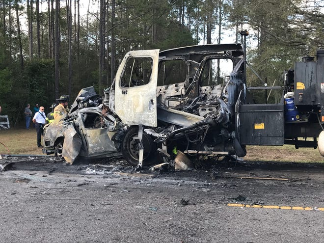 This car and asphalt truck collided head on Thursday afternoon on County Road 484 just west of State Road 200. The car driver was killed. One of two men in the truck was injured.