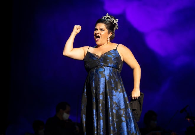 "Kathryn Lewek performed the role of the Queen of the Night in Palm Beach Opera's production of Mozart's ""Die Zauberflöte"" (""The Magic Flute""). She is shown at a Feb. 18 rehearsal."