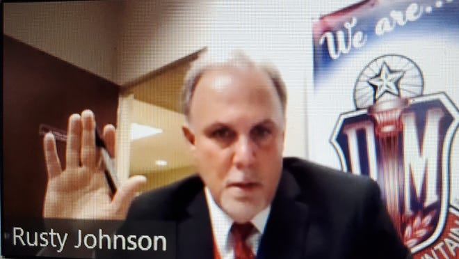 Pocono Mountain School Board President Rusty Johnson votes to deny Summit School Charter application during meeting on zoom, Feb. 24, 2021
