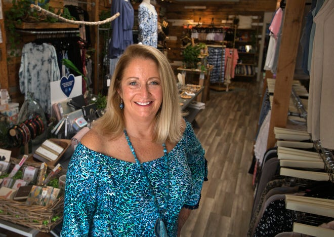 Patti Biggs at Norcross Boutique in West Palm Beach. Norcross carries clothes from Biggs' Out of the Blue Collection.