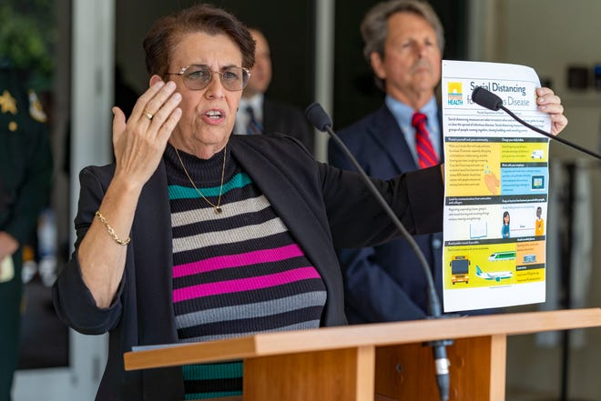 WEST PALM BEACH -- Dr. Alina Alonso, director of the Florida Department of Health in Palm Beach County, continues urging residents use facial coverings and social distancing to help protect themselves from the COVID-19 virus despite the COVID vaccine.  [GREG LOVETT/palmbeachpost.com]