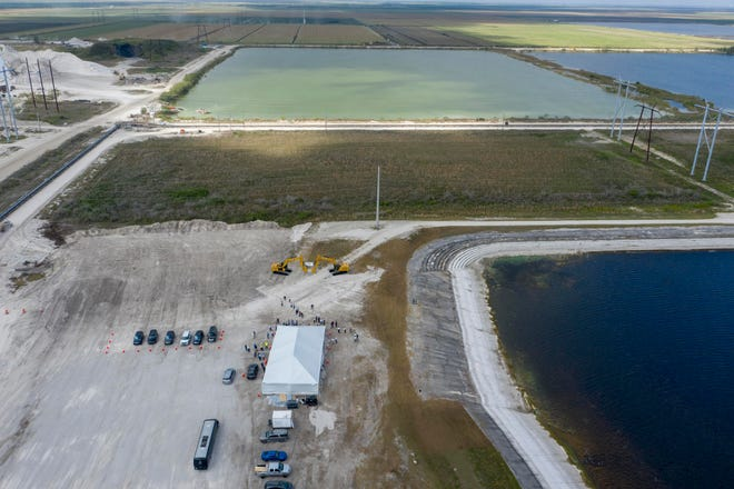 This C-51 reservoir will hold 14,000 acre-feet of water, or 4.56 billion gallons, at Palm Beach Aggregates in western Palm Beach County.