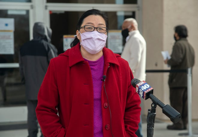 San Joaquin County Public Health Officer Dr. Maggie Park speaks at a news conference at a COVID-19 vaccination event Feb. 18 at the Progressive Community Church in south Stockton.