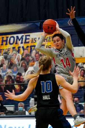 Kent State sophomore guard Katie Shumate looks for an open teammate during a game against Buffalo played last month at the M.A.C. Center. The two teams will square off in the MAC Tournament quarterfinals Wednesday afternoon in Cleveland.