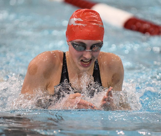 Reyna Hoffman of Shelby competes in the 200 yardm IM in Div II state swimming in Canton Wednesday , February 24, 2021.
