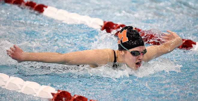 Leah Guess of Marlington competes in the 100 yard Butterly event at the Girls Division II State Swimming Wednesday , February 24, 2021.