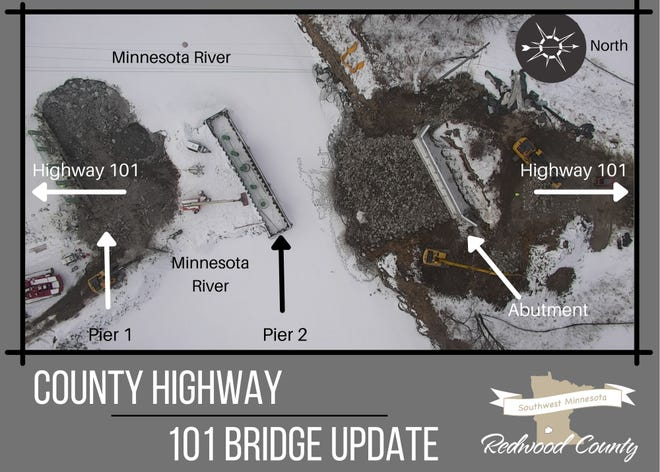 The Redwood County Highway Department provided this illustration of construction on the CSAH101 bridge over the Minnesota River.