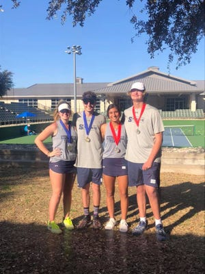 The Stephenville High School mixed doubles teams of Dylan Jones and Shyla Smith, and Jordan Sutton and Leslie Rivera, took first and second places, respectively, at the WFTF Tournament held Wednesday at the Waco Regional Tennis Center in Waco.