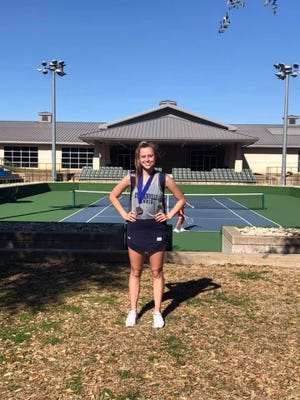 Stephenville High School's Bailey Kammerer took first place in women's singles play at the WFTF Tournament held Wednesday at the  Waco Regional Tennis Center in Waco.